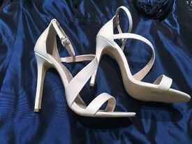 NEW White Patent High Heel Shoes, Size 5