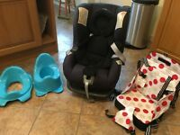 Britax car seat, seat booster and toilet trainers