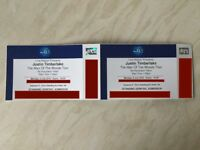 2 x Justin Timberlake Standing Tickets O2 Arena London