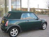 56 reg 2006 mini cooper convertible manual, 1 owner, met green, 96k f/s/h, hpi clear 100%