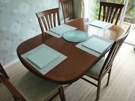 Morris quality furniture extending dining table and 6 chairs +side unit