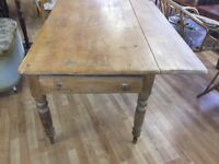 Old pine dropleaf farmhouse dining table with draw