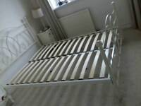 4ft6in cream metal beds excellent condition