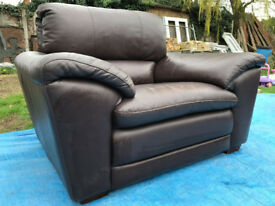 Italian leather chair and foot stool