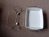 Four (4) Buffet Porcelain Serving Dishes With Twin Tea Light Stands - Excellent Condition