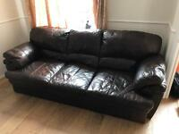 Quality Italian 3-seater leather sofa & chair