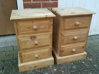 Solid pine bedsides drawers
