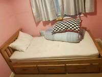 Solid wood single bed with drawer cabin bed