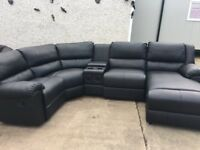 Ex Large Black Leather Recliner Corner Suite