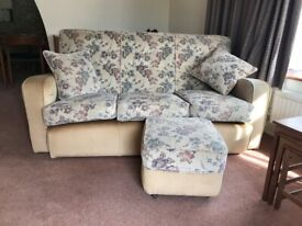 3 Seater Sofa and 2 arm chairs and pouffe