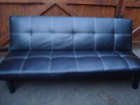BLACK LEATHER LOOK SOFA BED ONLY USED IN CAMPER VAN 67INCH LONG 38 INCH WIDE WHEN FOLDED AS BED