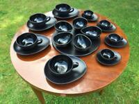 Black matte/shiny modern coffee set