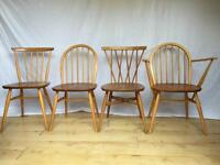 Set of four vintage Ercol dining chairs Windsor candlestick