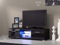 Modern TV Unit , TV Cabinet TV Stand Black Matt and Black High Gloss RGB LED & REMOTE
