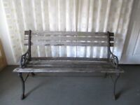 TRADITIONAL VINTAGE GARDEN BENCH WITH CAST IRON BENCH ENDS FREE DELIVERY