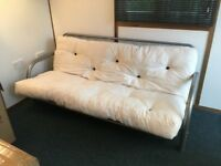Futon - medium grey metal frame and double sized mattress