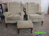 A Pair of Fireside Chairs and matching footstool