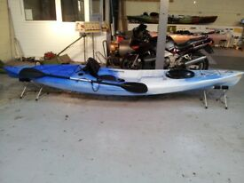 fishing kayak for sale with paddle and seat back 4.2 meters long made in uk by teksport £400.