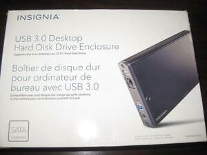 "Insignia 3.5"" SATA Desktop Hard Drive Enclosure. External HDD Hard Disk. AC Power. USB 3.0 Computer Macbook. Desktop NEW"