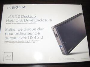 Insignia 3.5 SATA Desktop Hard Drive Enclosure. External HDD Hard Disk. AC Power. USB 3.0 Computer Macbook. Desktop NEW