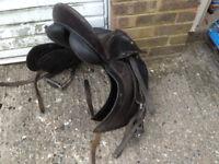 Leather Caprili Horse Saddle with Stirrups