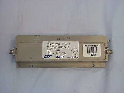 Rf Microwave Amplifier Sma 2.0 To 4.0 Ghz 35db Gain Ctt Al0040-4037-11 Tested
