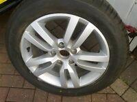 tyre on 5 spoke alloy.