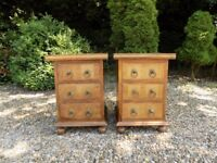 2 x Barker & Stonehouse Flagstone Three Drawer Bedside Cabinets