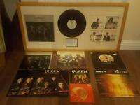QUEEN FRAMED ALBUM WITH COA PLUS 7 VINYLS