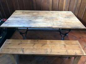 Dining or kitchen table rustic pine industrial