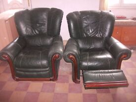 VERY COMFORTABLE RECLINING 3 PIECE GREEN LEATHER SUITE.