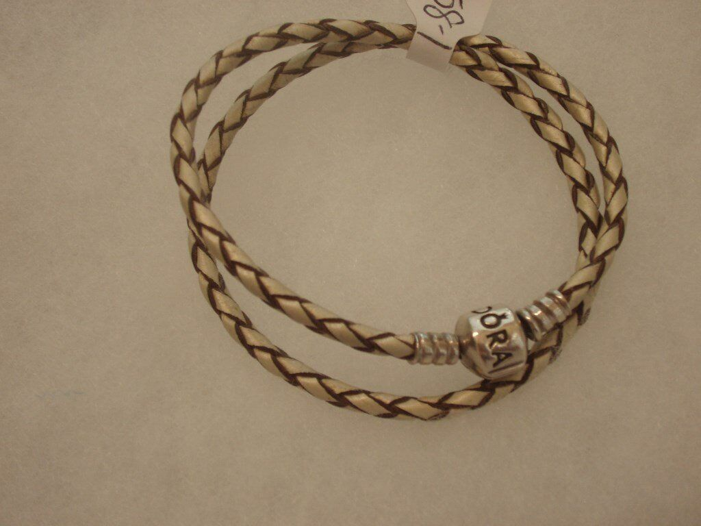 450e2d6eb ... italy genuine pandora double leather bracelet brown cream double woven  hallmarked ale 925 0c6bf 8614d