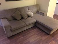 Grey fabric custom made corner sofa / suit