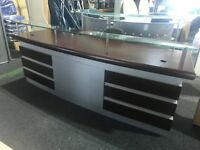 NEW walnut reception desk with chrome & glass detailing,slightly marked which is reflected in price