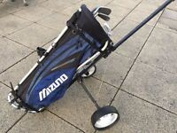 For sale, Mizuno Golf Bag, Clubs and Howson Trolley with Removeable Wheels