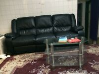 RECLINE 3SEATER BLACK LEATHER SOFA.
