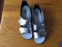 Ladies Flat Shoes, Size 6.5, Colour Silver by Hotter NEW
