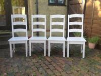 SET OF 4 MATCHING SOLID WOOD DINING CHAIRS