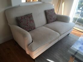 Two beige 2 seater snow drop sofas from sofa com