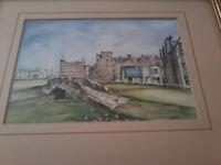 VIntage Royal & Ancient St Andrews Watercolour Print Duncan Tindale golf
