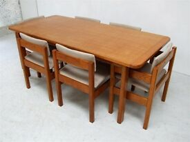 Vintage / Retro Gordon Russell English Oak Dining Table and 6 Chairs 1960s Mid-century Danish style