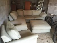 Large corner sofa, footstool and chair.