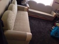 2 Mint Green Colour Fabric Material Living Room Sofa Beds - Fully Functional & Very Good Condition