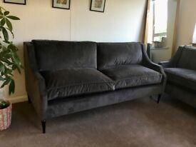 Quality Grey Velvet Sofas x 2 - Lounge Reception Area - Hardly Used