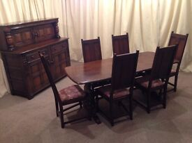 Ercol Colonial Dining Suite - Refectory Dining Table & 6 Chairs - Court Cupboard Side Board