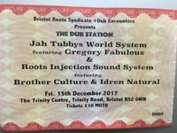 2 x Jah Tubby Workd System tickets - Friday Dec 15th