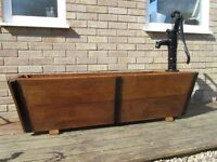 HAND MADE LARGE WOODEN PLANTER / TROUGH