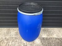 120 Litre Blue Plastic Barrels with Airtight and Watertight Lids Washed ready for re-use.