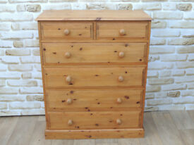 6 Drawer Chunky Wooden Welsh Pine chest of drawers (Delivery)