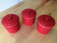 LE CREUSET RED STONEWARE STORAGE JARS (3)